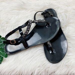 Unbranded Black Tstrap Flat Ankle Slingback Sandal